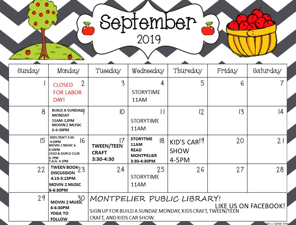graphic about Printable Calendar Kids named Youth Companies Printable Calendar Montpelier General public Library